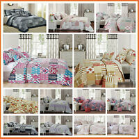 3PCs Quilted Bedspread Patchwork Luxury Comforter Bed Throw with Pillow Shams