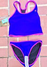 TYR Womens Size XL 14 Tall Reversible 2Pc Bright Purple Black Bikini Workout NWT