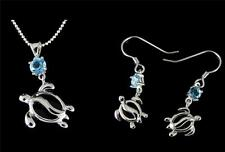 GENUINE BLUE TOPAZ SILVER 925 HAWAIIAN HONU TURTLE PENDANT EARRINGS SET