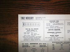 1962 Mercury SIX Series Monterey Models 223 CI L6 Tune Up Chart