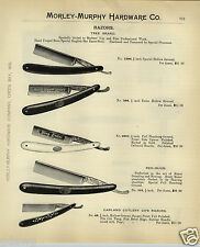 1908 PAPER AD Boker Tree Brand Straight Razor Red Injun King Cutter Garland Gem