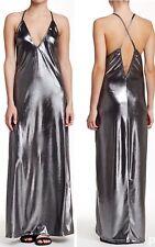 American Apparel Shiny Liquid Gunmetal Metallic Strappy Back Long Dress Small