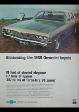 "1968 CHEVROLET IMPALA 327 V8 AD A3 CANVAS PRINT POSTER FRAMED 16.5""x11.7"""