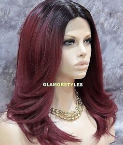 Human Hair Blend Lace Front Full Wig Long Layered Black Burgundy Mix Heat Ok