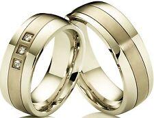2 Anillo Compromiso Pareja de boda acero inoxidable & TITANIO & Grabado