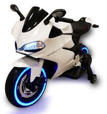 Moto Elettrica Per Bambini 12V Ruote LED Fari Funzionanti MP3 USB Bianco