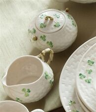 Belleek China Classic Shamrock Cream and Sugar Set Made in Ireland. NEW
