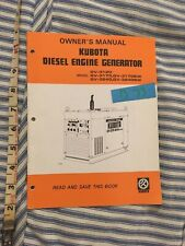 Kubota Diesel Engine Generator GV-3120 3170 3170SW 3240 3240SW Owner's Manual