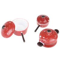 3pcs Dollhouse Miniature Metal Frypan Frying Pans Cooking Pot Kitchen Access Gw