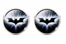 925 Silver Plated Batman Pattern Cufflinks Round cuff links Bat Man Round Black