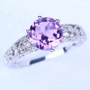 Solid 10K White Gold Antique 7.5mm Round Amethyst Pave Diamond Engagement Ring