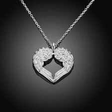 Fashion Unique Elegant Silver Plated Heart Pendant Women Angel Wings Necklace