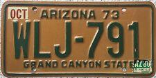 GENUINE1973 American Arizona Grand Canyon State USA License Number Plate WLJ 791