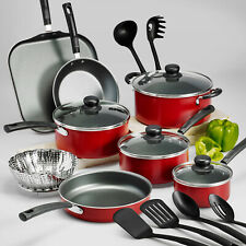 New listing Nonstick Cookware Set 18 Piece Kitchen Pots And Pans Red Easy Clean Quality Kit