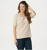 Isaac Mizrahi Live! Essentials Square-Neck Knit Top Country Linen, Large