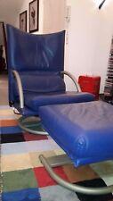 Rolf Benz Ledersessel BMP Lounge Sessel + Hocker blau Vollleder neigbar drehbar
