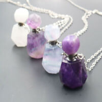 Natural Fluorite Crystal Quartz Necklace Perfume Bottle Pendant Healing Stone