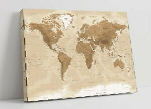 Vintage World Map CANVAS WALL ART  ARTWORK 30MM DEEP FRAMED PRINT