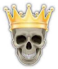 Skull Golden Crown Car Bumper Sticker Decal 4'' x 5''