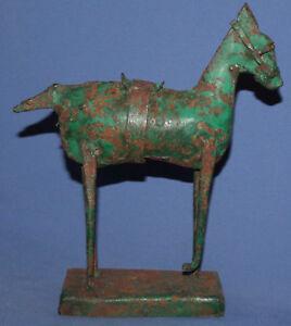 ANTIQUE HAND MADE IRON AVANT GARDE ART WORK STATUETTE HORSE
