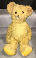 New ListingVintage Fully Jointed Teddy Bear with Glass Eyes About 13.5� Golden Fur C. 1920.