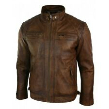 Men Antique Brown Leather Jacket, Men Brown Biker Leather Jacket, Leather jacket