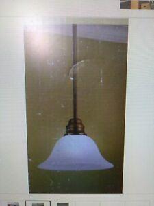 PORTFOLIO  Oil-Rubbed Bronze Finish PENDANT LIGHT w/ Alabaster Glass Shade(#42D