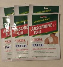 Absorbine Jr Plus Ultra Strength Lg. Pain Relief Patch 6.5% Menthol (Lot of 6)