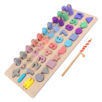Wooden Wood Kids Fishing Numbers Shapes Colours Stacking Educational Toy Gift