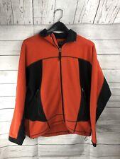 RLX Polo Sport Mens Medium Orange Black Fleece Full Zip Sweater Jacket w Pockets