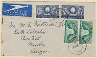airmail cover Pretoria South Africa to Nairobi Kenya 1949 postal history 9d rate