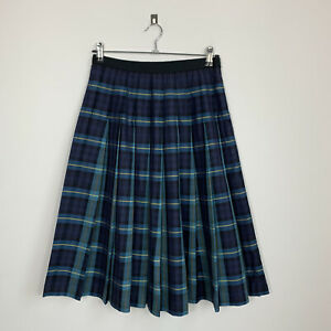 MARGARET HOWELL MHL Blue / Green Tartan Checkered Pleated Skirt Size 10 Silk