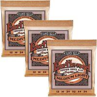 3 Sets Ernie Ball 2146 Acoustic Guitar Strings Regular Slinky 12-54 3 Pack