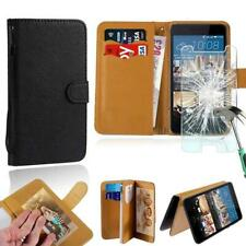 Leather Stand Wallet Case + Tempered Glass Screen Protector For HTC SmartPhones