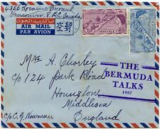 BERMUDA 1957 TALKS HANDSTAMP on COMMERCIAL AIRMAIL ENVELOPE