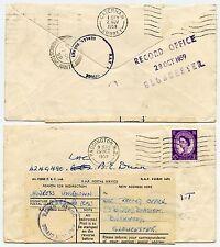 Redirección de Servicio Postal GB RAF Odiham Hants 1959 Gloucester + Caterham