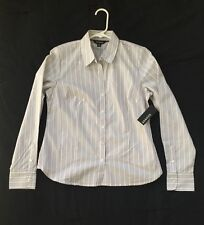 GEORGE Wms/Juniors Stretch FITTED Gray & White STRIPED Dress Shirt Sz S/Ch 4-6