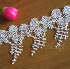 1yd Vintage Fringe Lace Trim Wedding Bridal Ribbon Tassel Applique Sewing Craft