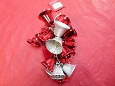 St Nicholas Square Holiday Bells Wall Decor Door Hanger Red Silver New