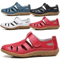 Womens Hollow Out Ankle Strap Sandals Ladies Summer Beach Closed Toe Flat Shoes