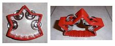 Tamburello a stella rosso, cembalo, 4 paia di piattini in metallo, cm 12x12