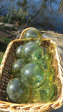 "Japanese Blown GLASS FLOATS LOT-9 (ALL GREEN) 3-3.5"" Buoy BALLS Fish Vintage!"