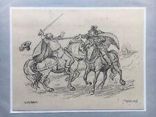 SIGURD OLRIK 1874-1921 KAMPFSZENE FECHTER MUSKETIERE - 1909 PARIS - 19 X 24 CM