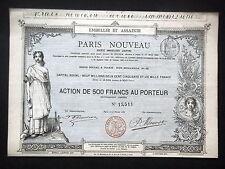 SOCIETE IMMOBILIERE PARIS NOUVEAU - ACTION 500 FRANCS 1885