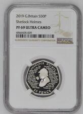 2019 Great Britain Silver Proof 50p Sherlock Holmes NGC PF69UC