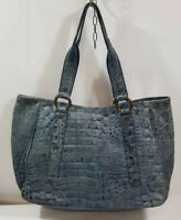 Maurizio Taiuti Teal Color Croc Embossed made in Italy Leather Tote  Handbag