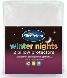 Silentnight Pillow Protectors Quilted 2 Pack Anti Allergy Microfibre Pair Case