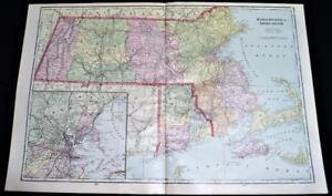 MASSACHUSETTS & RHODE ISLAND ATLAS MAP PAGE PLATE 1908 VINTAGE GEORGE F. CRAM