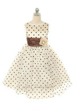 New Ivory Brown Flower Girl Polka Dot Dress Pageant Wedding Birthday Formal 234