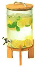 New listing New Glass Beverage Juice Drink Dispenser With Bamboo Stand, 250 Oz (8L)